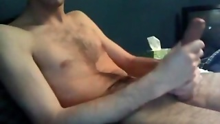 Skinny Guy Sucks And Strokes His Own Cock