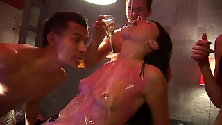 College Fuckfest With Gal Poured With Liquor And Group Screwed