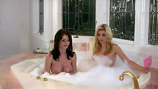Emily Addison Is A A Playful Blonde In The Bathtub