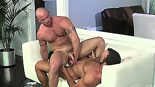 Muscle Gay Couple Having Hot And Steamy Sex In The Living