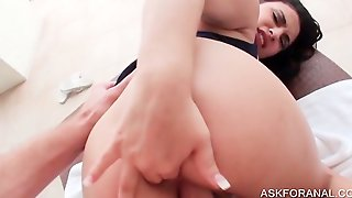 Voloptuous Brunette Gets Butt Nailed In Pov