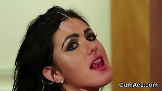 Peculiar Hottie Gets Cum Shot On Her Face Sucking All The Load