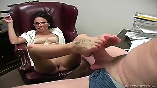 Office Beauty Gives The Old Guy A Footjob