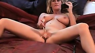 Blonde With The Big Boobs Doing Deep Throat In The Office