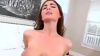 Molly Jane Put On Her Stockings And Is Ready To Suck And Get Fucked By A Hard Dick. She Is Willing To Please The Guy With Her Mouth, Pussy And Tits.