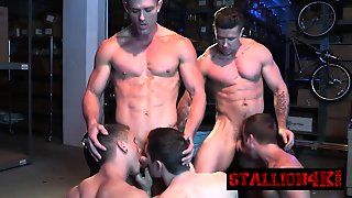 Four Sexy Studs In An Epic Orgy