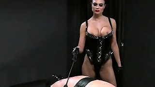 Busty Mistress Spanking Dude In Bdsm Bondage Handjob