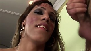 Sexy Shemale Nicoly Enjoys Cum On Her Face