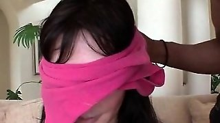 Blindfolded Babe Is In For A Big Cock Surprise