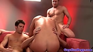 Gay Muscled Hunk Orgy On The Couch