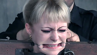 Submissive Slim Tattooed Blondie Gets Nostril And Mouth Stretching
