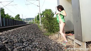 Hot Masturbation Near Railway Track