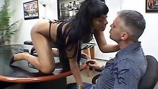 Sexy Dark Haired Babe In Thong Giving Blowjob