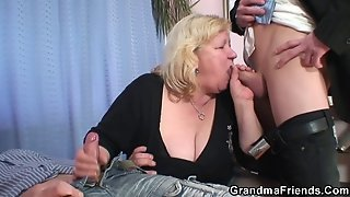 Grandma Shallows Two Cocks Then Fucks