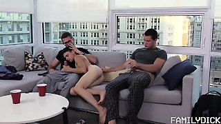 Rough Threesome On The Couch