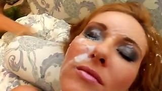 Cum For Cover Chipmunk Babe Sucks Down 4 Cocks And Takes The Cum