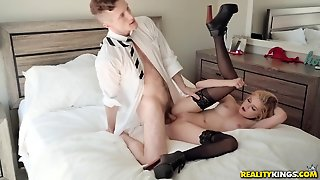 Schoolgirl Chloe Foster Fucked By A Businessman In Bed