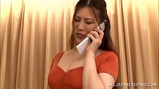 Japanese Mom Kiriko Kasumi Fingers Her Cunt After Talking On The Phone