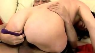 Old Granny Riding Cock With A Dildo In Her Ass
