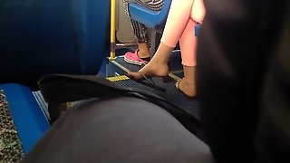 Candid Flip Flop Feet On The Bus
