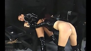Threesome In The Dungeon With Black Latex Chicks