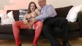 Old Man Fingers Babe In Stockings