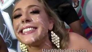 Extreme Interracial Facial Cum On A Hot Blonde