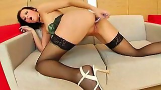 Shaved, Threesome Hd, Hd Stockings, Threesome Mmf, Stockings Double Penetration, Shaved Stockings, Mmf Brunette, Shaved Threesome