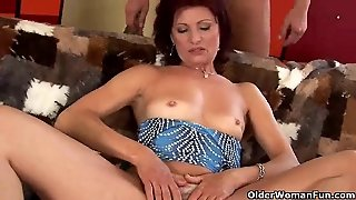 Lustful Old Mom With Small Tits Sucks And Fucks