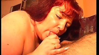 Large And Lovely Lady Eats A Cock