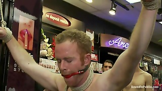 Public, Rimjob, Twink, Gay Foursome, Ball Gag, Red Ass, Store, Humiliation, Ass Spanking, Gay Bdsm, Tied Up