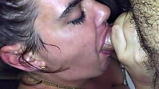 Deep Throat Blow Job Green Eyed Brunette