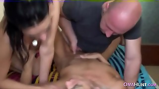 Granny Gets Fucked By Mature Couple