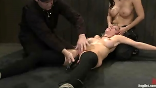 Two Bound Babes Fisted And Vibrated On The Floor
