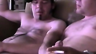 Hot Gay Stud Jerks His Own Dick While His Friend Licks, Fingers And Fucks His Ass