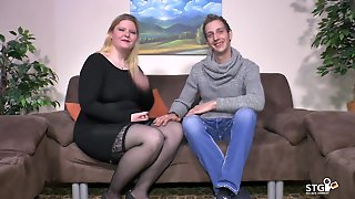 German Bbw And Skinny Fucker Are Filmed