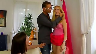 Horny Stud Rocco Siffredi Really Loves This Party And Loves This Hot And Passionate Threesome With Blonde And Brunette On His Living Room Couch While Licking Their Asses