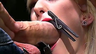 In This Nightmarish Bdsm Scene, We See Two Innocent Looking Young Blondes, One Ball-Gagged And Covered In Painful Looking Clamps, The Other Throat Fucked So Hard She Nearly Pukes.