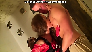 Costumed Men Fuck Babe At The Halloween College Sex Party
