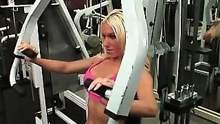 Busty Blonde Muscle Slut Gets Good Workout At The Gym