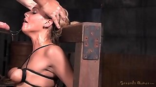 Her Small Tits Are Tied Tight As She Gets Face Fucked