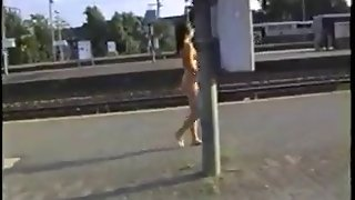 Naked Cutie At The Railway Station