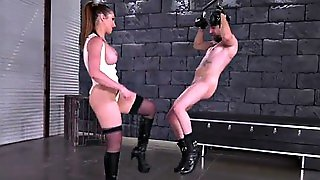 Brunette Pornstar Ballbusting With Cumshot