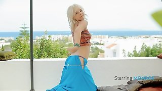 Excellent Oriental Dance From A Sweet Thin Blonde