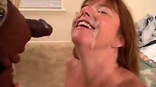 Mature Woman Takes Cum From Black Guy