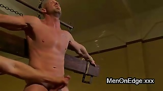 Bound Gay Ass Stuffed With Dildo And Hard Whipped