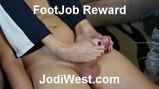 Jodi West Over The Shoulders Footjob Reward