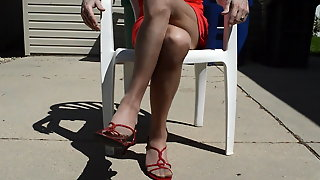 Outdoor In Nude Rt Pantyhose And Sandals