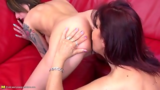 Tattooed Coed Eaten Out By A Sexy Milf