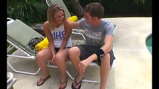 Couple Gets Frisky In The Pool And Has Great Sex On A Lounge Chair
